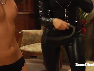 Lesbo Slaves In Bondage Whipped And Groped By Merciless Madame
