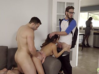 Seductive stepsister Jasmine Gomez is fucked by stepbrother and his fellow