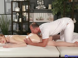 Massage leads young ginger to share insane porn admit