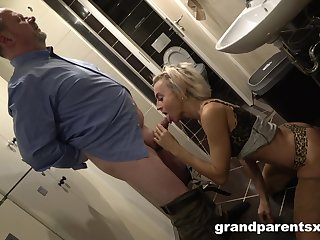 Older man and woman enjoy threeway delights with a young tart