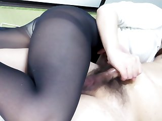 Black Pantyhose Face Housebound Handjob Ejaculation