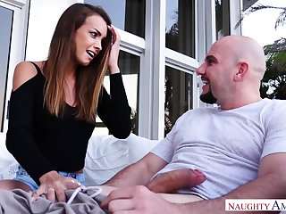 Lucky bald shine is treated with a really to one's liking blowjob from Charity Crawford