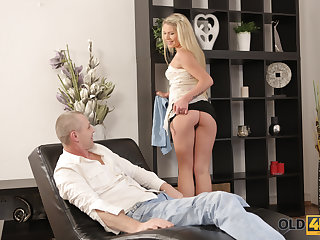 OLD4K. Pretty gal and friends dad have a go unplanned fuck