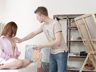 Aroused teen fucked by her boyfriend during a naughty painting lesson