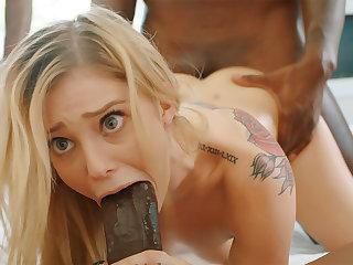 Platinum-Blonde's cock-squeezing labia pummeled constant wits phat dark-hued schlongs