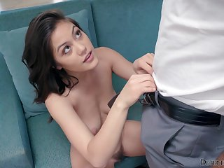 Sweet doll has some pretty kinky plans with the guy's penis
