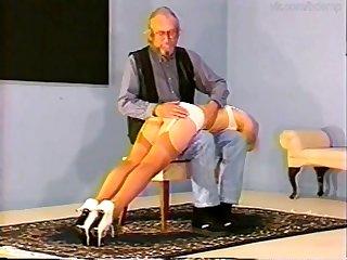 Retro hot babe spanking OTK porn clip
