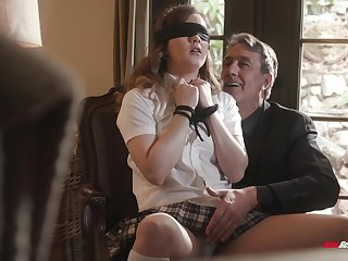 Bottomless gulf sex for submissive schoolgirl with reference to older man