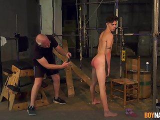 Twink endures Cyclopean cock from grandpa in gay BDSM