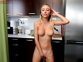 Undersized Blonde squirt solo with fingers and vibrator