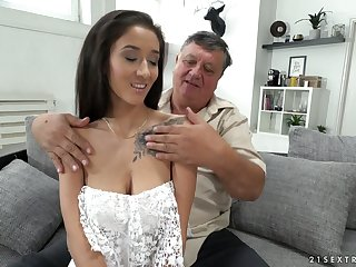 Old sugar daddy enjoys fucking lovely brunette babe with flavourful boobies Darcia Lee