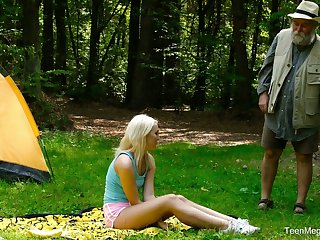 Blondie Lovita Fate is fucked firm unconnected with kinky geezer in the forest
