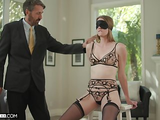 Old husband fucks blind folded young become man Ashley Lane and cums on her face
