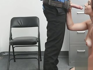 Milking plus riding the guards cock in the back office