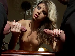 Petite blonde Gina Gerson gets a mouthful of cum after crazy threesome sex