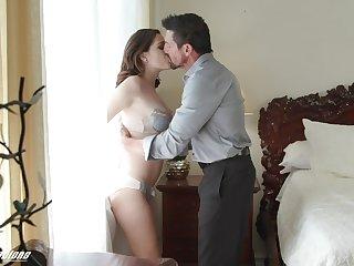 Elderly daddy fucks beautiful young stepdaughter Brooke Haze