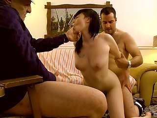 Asian wife filmed instantly getting laid wide of two men, founder and nipper